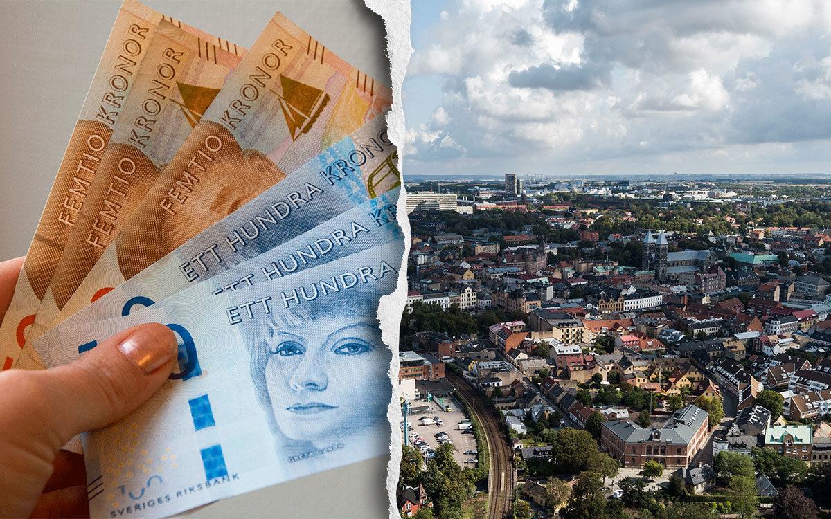 Pengar och en översiktsbild på Lund.