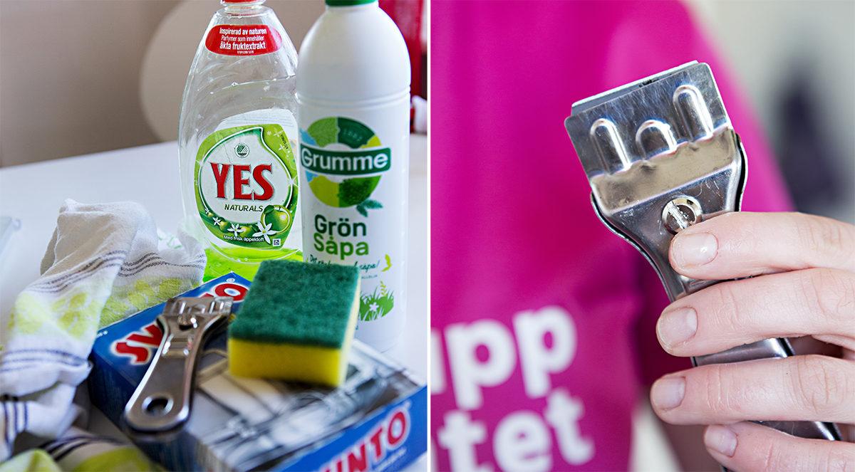Bild av vad du behöver för att göra rent ugnen.