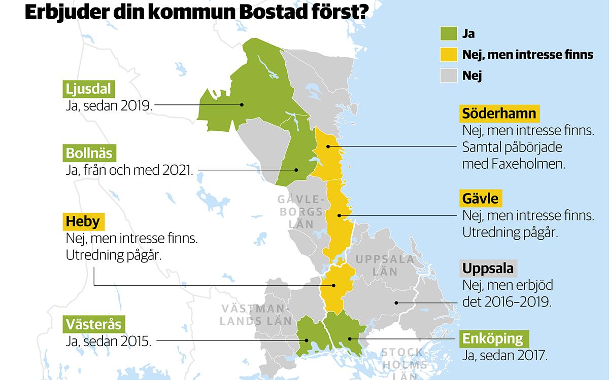 Hem & Hyras kartläggning visar att bara i 4 av 28 kommuner Gävleborgs, Västmanlands och Uppsala län använder modellen Bostad först, medan ytterligare tre kommuner är intresserade av att införa den. I Uppsala har Bostad först lagts på is, men det finns förhoppningar om att återuppta arbetet. Grafik: TT Nyhetsbyrån