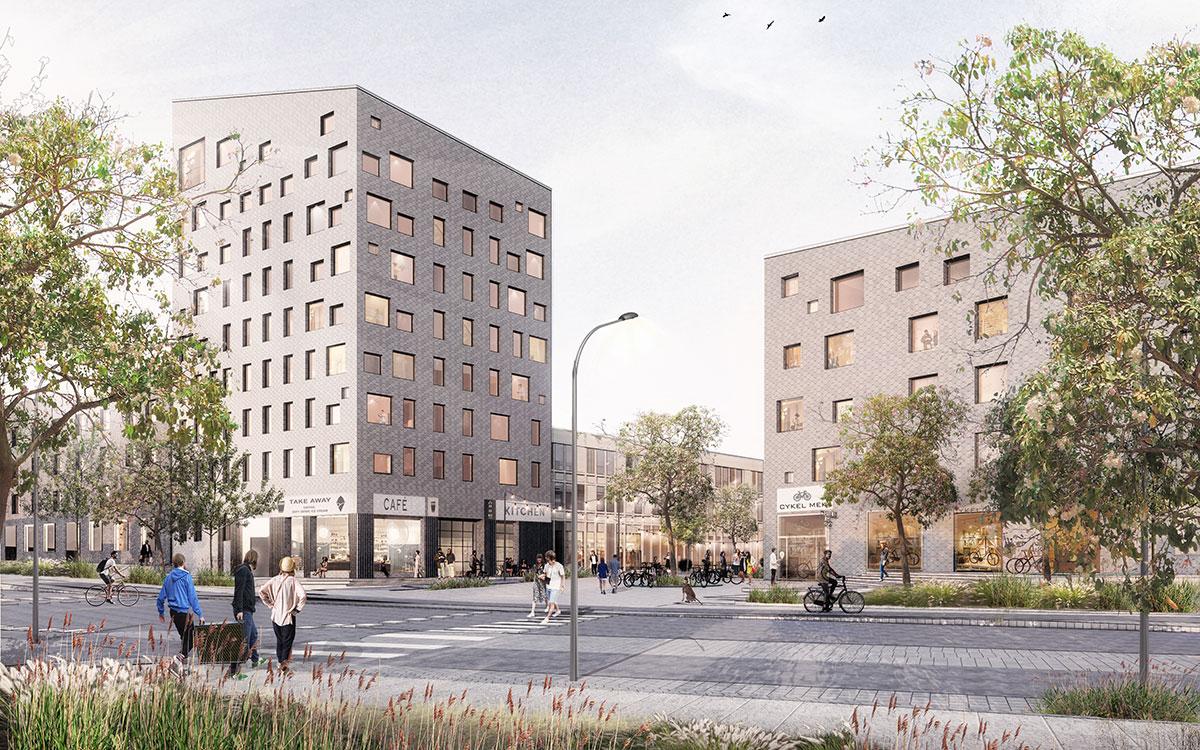 Arkitemas skiss över kommande studentbostäder