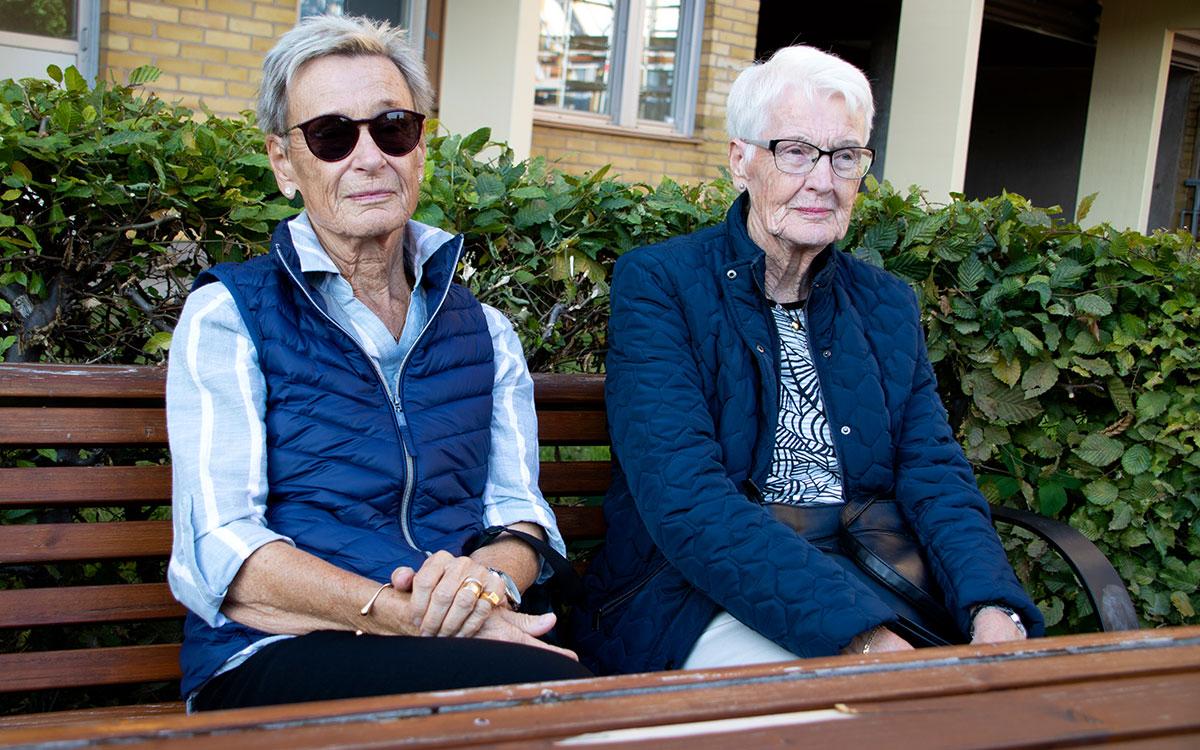 Due donne anziane sono sedute su una panchina del parco.  Entrambi indosseranno il blu sopra ed entrambi indosseranno gli occhiali.