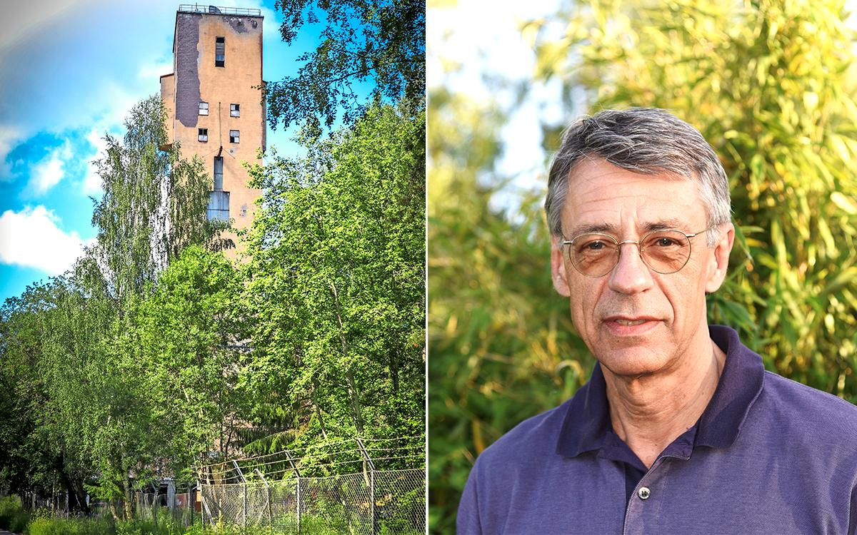En tvådelad bild där det ena fotot visar den gamla gruvlaven i Blötberget medan det andra är ett porträtt på gruvbolagets vd Lennart Eliasson.