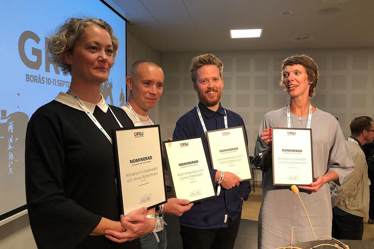 Anna Rytterbrant, Conny Pettersson, Aron Andersson och AnnaKarin Löwendahl var alla nominerade till Guldspaden. Här står de med varsitt nomineringsdiplom.