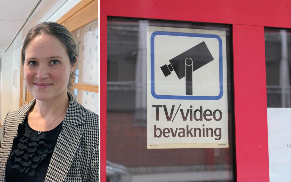 Kameraövervakning. Kvinna på bild plus skylt TV/videoövervakning