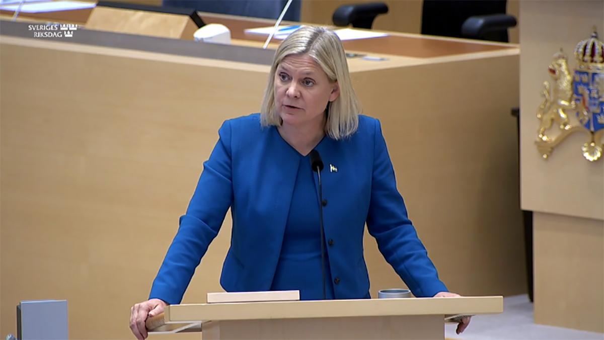Magdalena Andersson i riksdagens kammare på torsdagen.