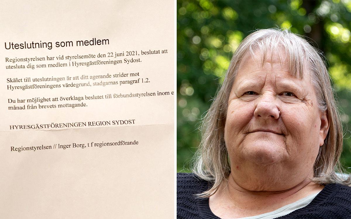 Till vänster ett brev om uteslutning. Till höger en närbild på Inger Borg.