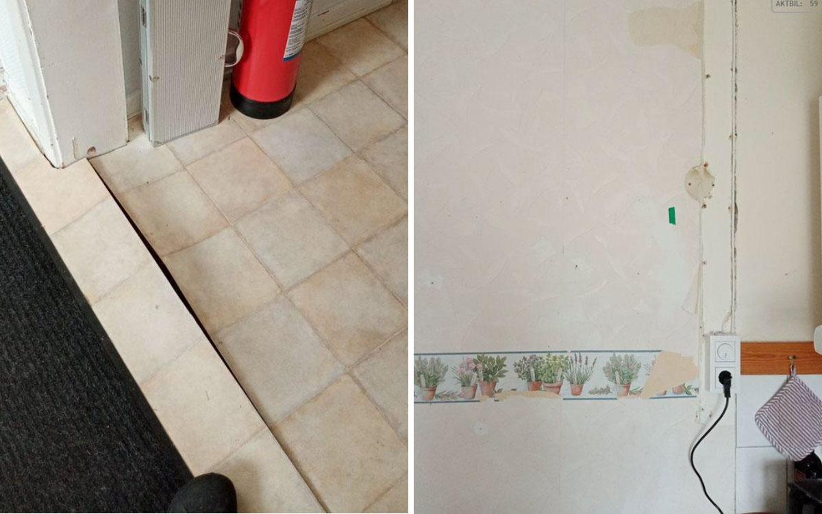 Lösa golvmattor och trasiga tapeter i lägenheten.